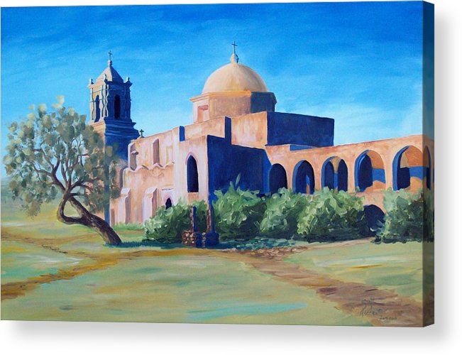 Landscape Acrylic Print featuring the painting San Antonio Mission by Scott Alcorn