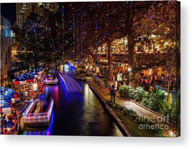 San Antonio Riverwalk During Christmas.San Antonio Riverwalk During Christmas Acrylic Print By