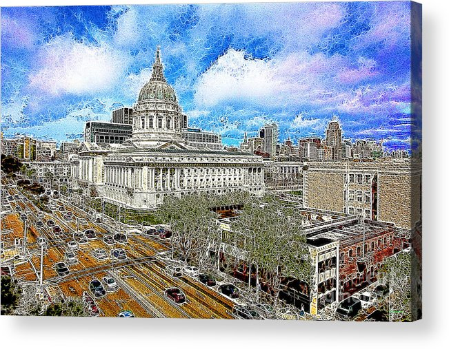 San Francisco Acrylic Print featuring the photograph San Francisco City Hall 5d22507 Photoart by Wingsdomain Art and Photography