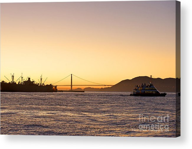 San Francisco Harbor At Pier 39 Acrylic Print featuring the photograph San Francisco Harbor Golden Gate Bridge At Sunset by Artist and Photographer Laura Wrede