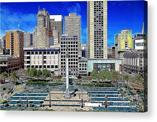 San Francisco Acrylic Print featuring the photograph San Francisco Union Square 5d17938 Artwork by Wingsdomain Art and Photography
