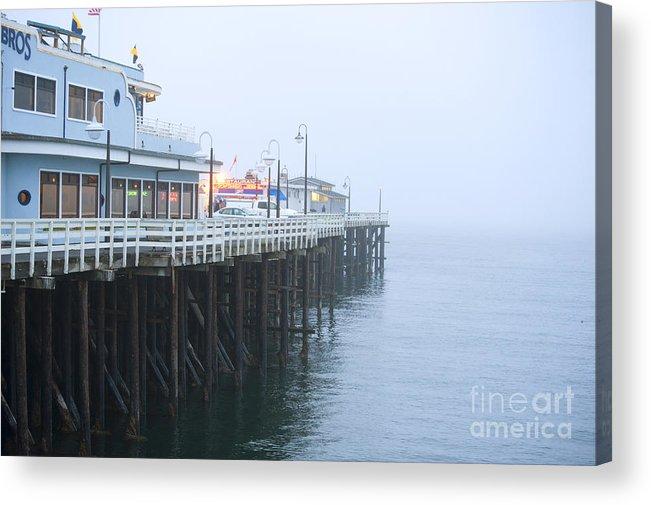 Santa Cruz Pier Acrylic Print featuring the photograph Santa Cruz Pier In The Fog by Artist and Photographer Laura Wrede