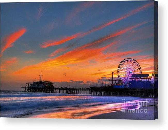Santa Monica Pier Acrylic Print featuring the photograph Santa Monica Pier At Dusk by Eddie Yerkish