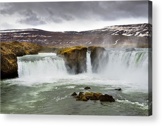Color Image Acrylic Print featuring the photograph Scenic View Of Godafoss Waterfall by Blake Burton