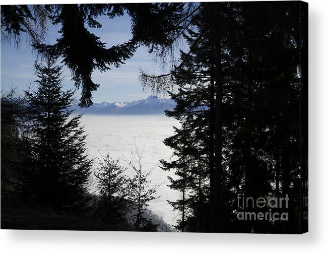 Sea Of Fog Acrylic Print featuring the photograph Sea Of Fog Over An Alpine Lake by Mats Silvan
