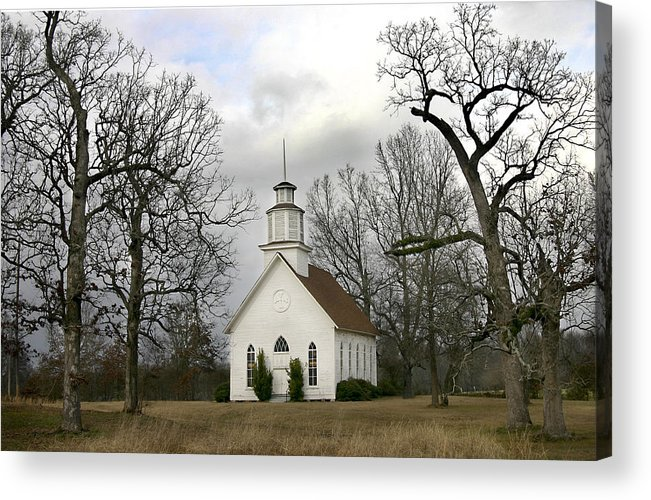Churches Acrylic Print featuring the photograph Selma United Methodist Church In Winter by Robert Camp