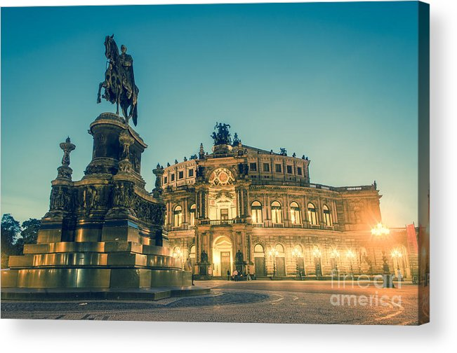 Semperoper Acrylic Print featuring the photograph Semperoper Dresden Theaterplatz by Tuimages