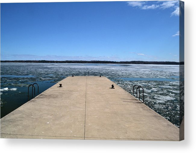 Abstract Acrylic Print featuring the photograph Shanty Bay Pier 2 by Lyle Crump