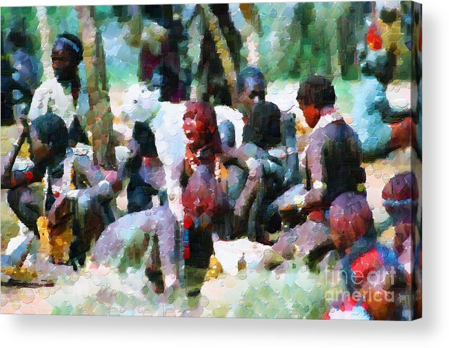 Ethiopia Acrylic Print featuring the painting Shouting Woman Painting by George Fedin and Magomed Magomedagaev