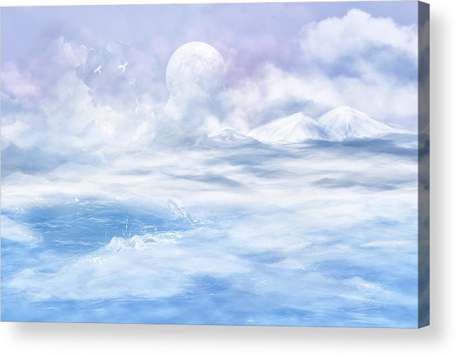 Fantasy Acrylic Print featuring the glass art Snow Valley by Nika Lerman