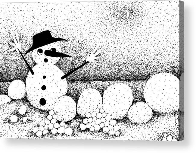 Designs Acrylic Print featuring the drawing Snowball Fight by Joy Bradley