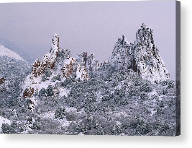 Snowfall Garden Of The Gods Colorado Springs Co Acrylic Print