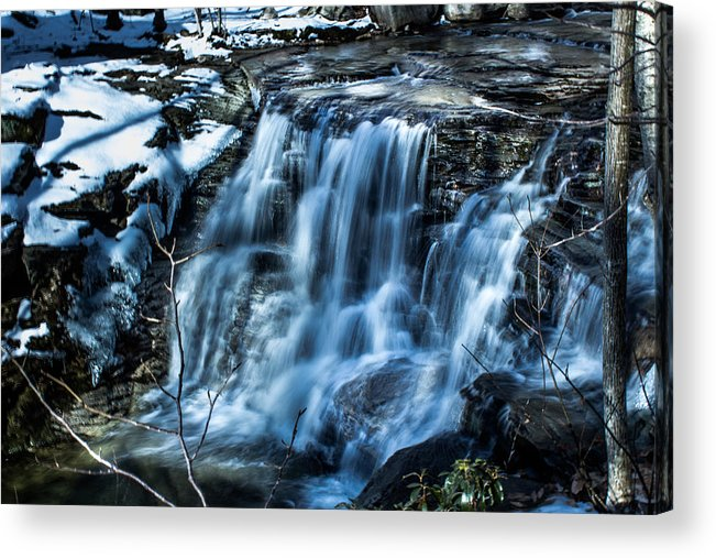 Waterfall Acrylic Print featuring the photograph Snowy Waterfall by Jahred Allen