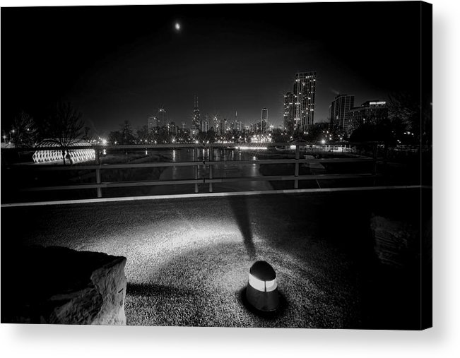 South Pond Acrylic Print featuring the photograph South Pond With Chicago Skyline by Sven Brogren