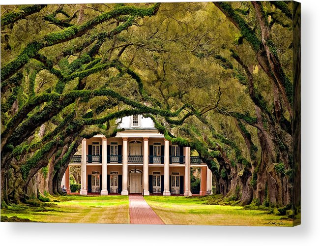 Oak Alley Plantation Acrylic Print featuring the photograph Southern Class Painted by Steve Harrington