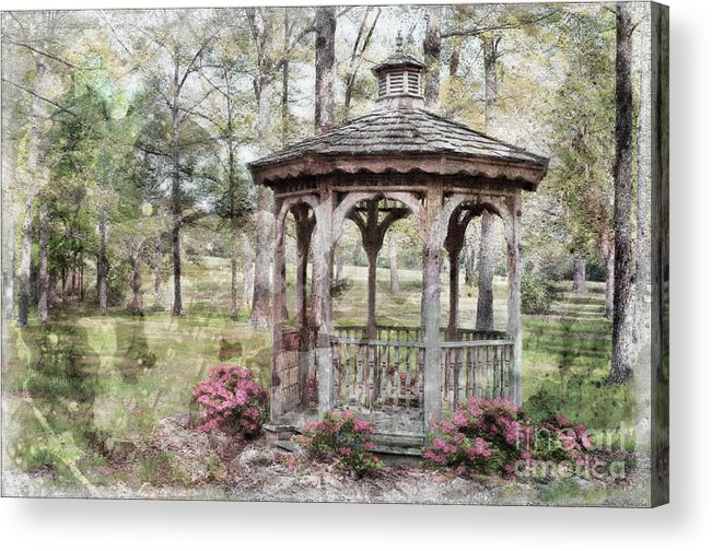 Nature Acrylic Print featuring the photograph Spring Gazebo Painteffect by Debbie Portwood