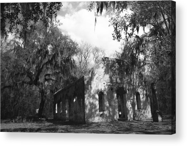 Chapel Of Ease Acrylic Print featuring the photograph St Helena Chapel Of Ease Bw 2 by Steven Taylor