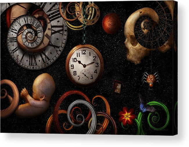 Time Acrylic Print featuring the photograph Steampunk - Abstract - The Beginning And End by Mike Savad