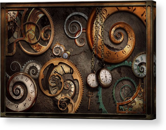 Steampunk Acrylic Print featuring the photograph Steampunk - Abstract - Time Is Complicated by Mike Savad