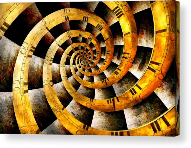 Steampunk Acrylic Print featuring the photograph Steampunk - Clock - The Flow Of Time by Mike Savad