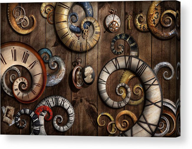Savad Acrylic Print featuring the photograph Steampunk - Clock - Time Machine by Mike Savad