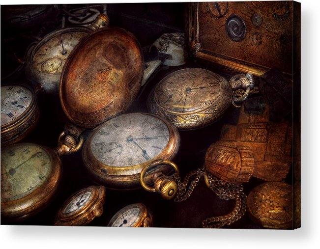 Steampunk Acrylic Print featuring the photograph Steampunk - Clock - Time Worn by Mike Savad