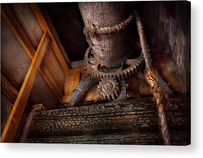 Savad Acrylic Print featuring the photograph Steampunk - Gear - Out Of Order by Mike Savad