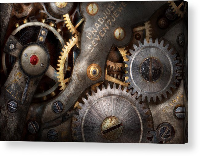 Steampunk Acrylic Print featuring the photograph Steampunk - Gears - Horology by Mike Savad