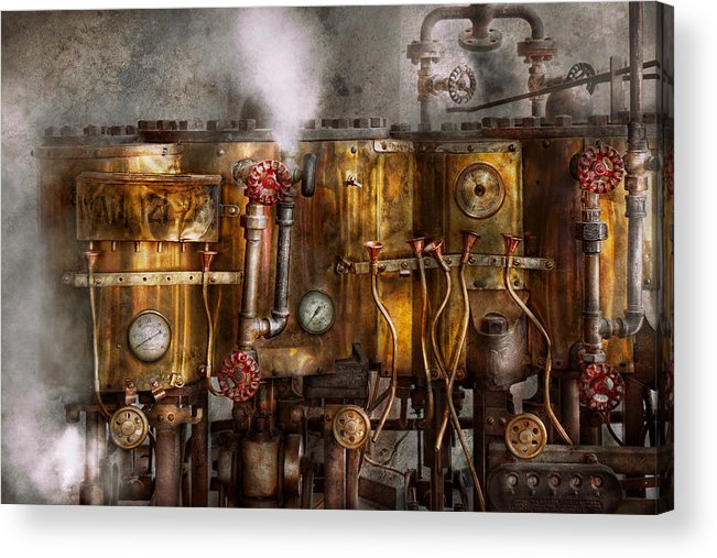 Steampunk Acrylic Print featuring the photograph Steampunk - Plumbing - Distilation Apparatus by Mike Savad