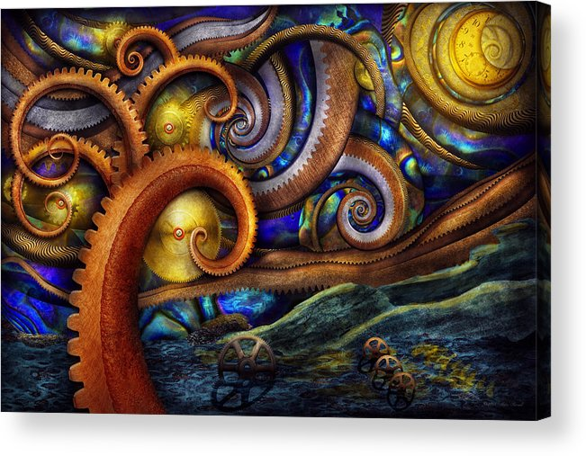 Savad Acrylic Print featuring the photograph Steampunk - Starry Night by Mike Savad
