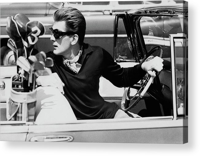 Entertainment Acrylic Print featuring the photograph Steve Holland In A Chrysler New Yorker by Paul Himmel