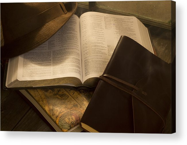 Hat Acrylic Print featuring the photograph Still Life Of Bible With Hat And Journal by Josh Campbell