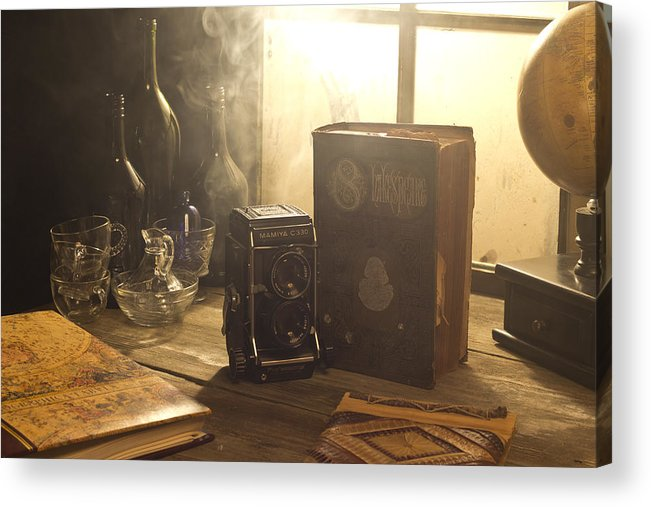 Camera Acrylic Print featuring the photograph Still Life With Camera And Book by Josh Campbell