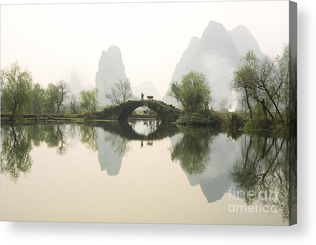 Bridge Acrylic Print featuring the photograph Stone Bridge In Guangxi Province China by King Wu