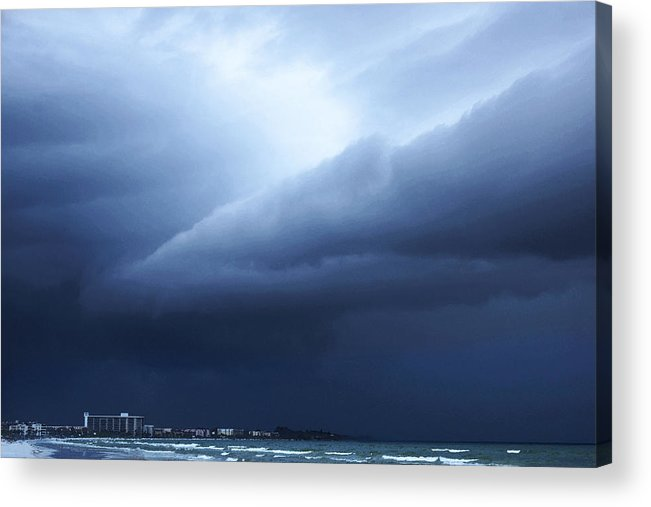 Storm Acrylic Print featuring the painting Storm Over Siesta Key - Beach Art By Sharon Cummings by Sharon Cummings