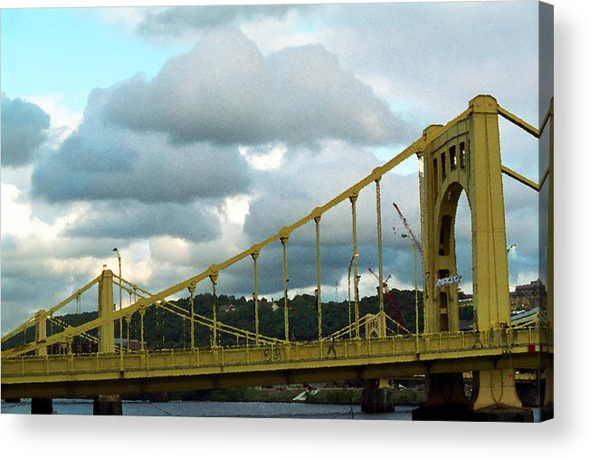 Allegheny Acrylic Print featuring the photograph Stormy Bridge by Frank Romeo