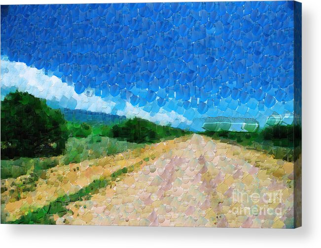 Ethiopia Acrylic Print featuring the painting Straight Road In Ethiopia Painting by George Fedin and Magomed Magomedagaev