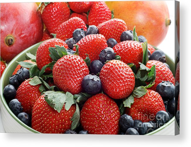 Strawberries Acrylic Print featuring the photograph Strawberries Blueberries Mangoes - Fruit - Heart Health by Andee Design