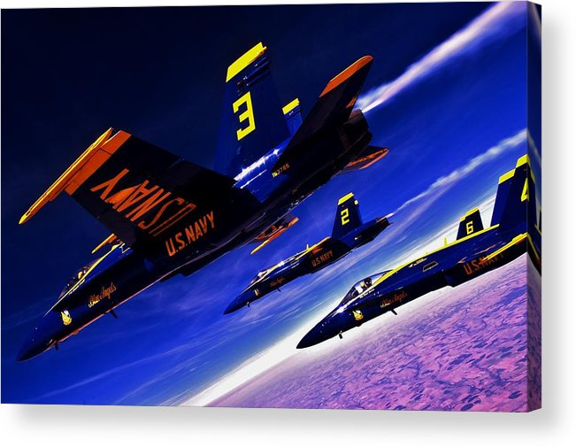 Blue Angels Acrylic Print featuring the photograph Streaking Blues by Benjamin Yeager