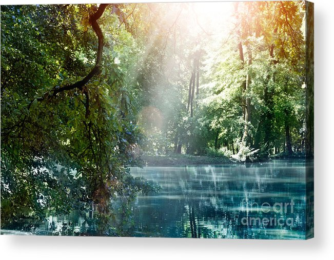 Autumn Acrylic Print featuring the photograph Summer Lake by Mythja Photography