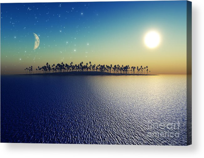 Islands Acrylic Print featuring the digital art Sun And Moon by Aleksey Tugolukov