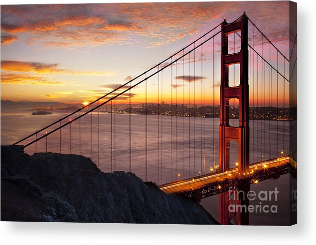 Sunrise Acrylic Print featuring the photograph Sunrise Over The Golden Gate Bridge by Brian Jannsen