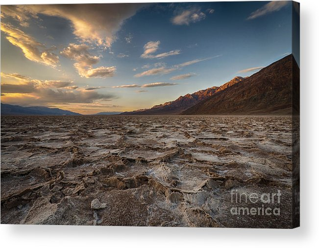Death Valley Acrylic Print featuring the photograph Sunset At Badwater Basin by Jennifer Magallon