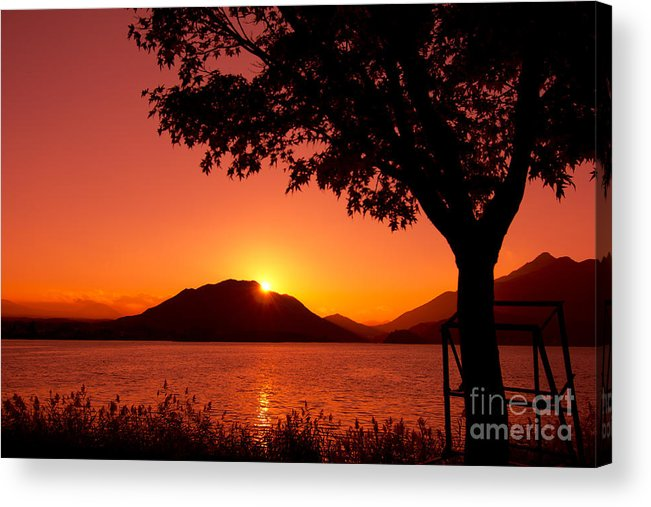 Sunset At The Lake Acrylic Print featuring the photograph Sunset At The Lake by Beverly Claire Kaiya