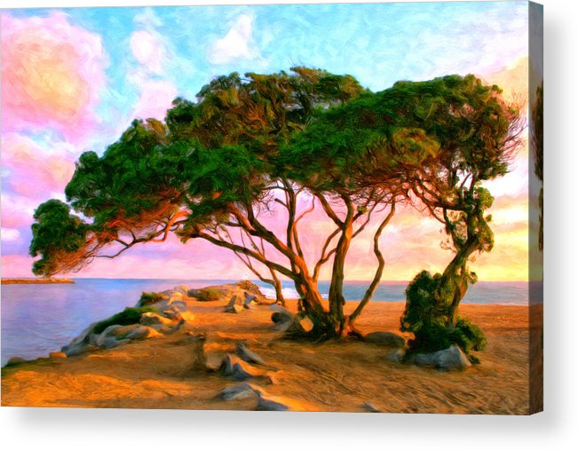 Sunset Acrylic Print featuring the painting Sunset At The Wedge In Newport Beach by Michael Pickett