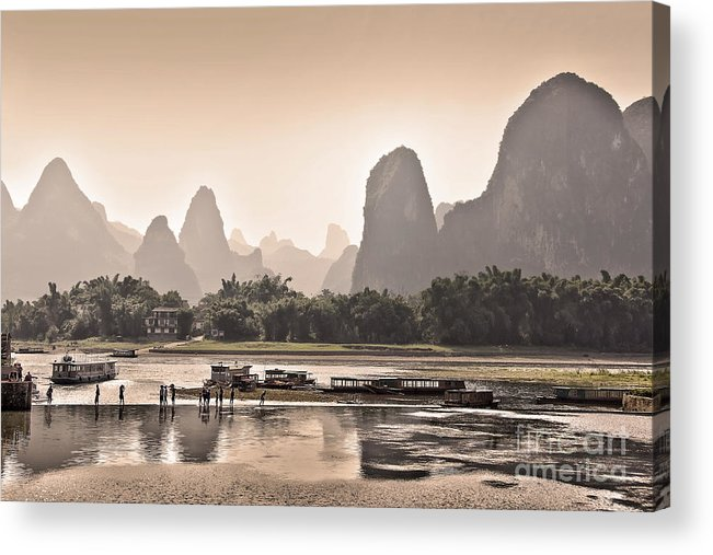 China Acrylic Print featuring the photograph Sunset On Li River by Delphimages Photo Creations