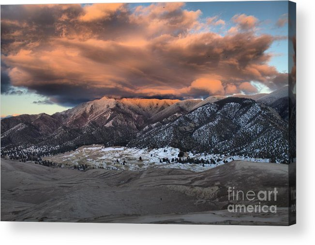 Great Sand Dunes National Park Acrylic Print featuring the photograph Sunset Over The Dunes by Adam Jewell