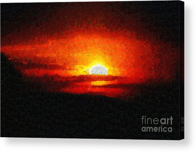 Ethiopia Acrylic Print featuring the painting Sunset Painting by George Fedin and Magomed Magomedagaev