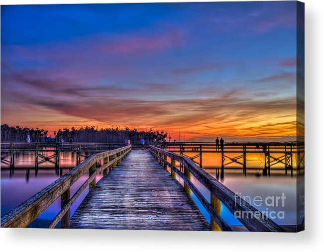 Fishing Pier Acrylic Print featuring the photograph Sunset Pier Fishing by Marvin Spates