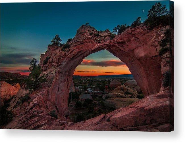 Landscape Acrylic Print featuring the photograph Sunset Through Window Rock by Erica Hanks